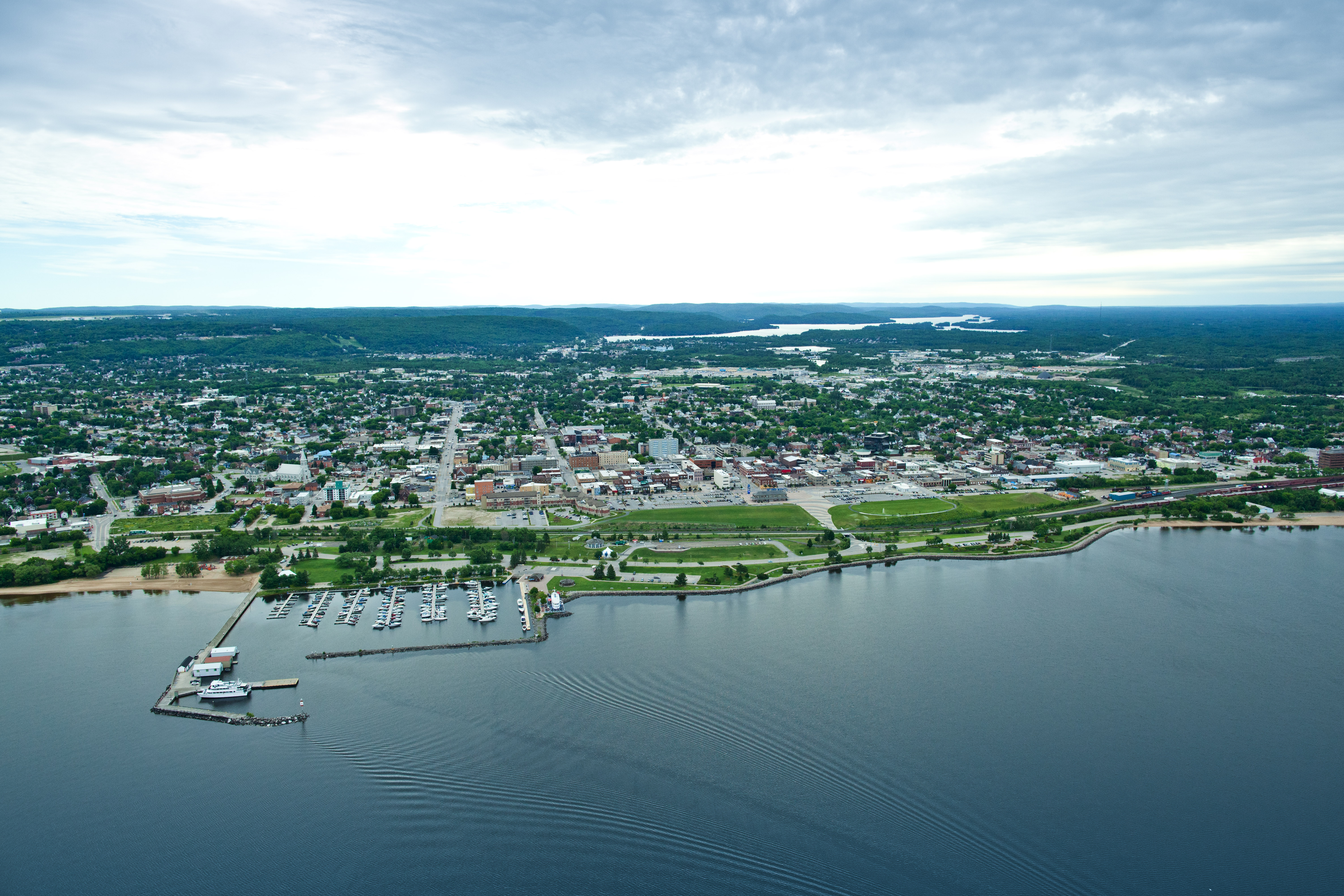 An aerial photo of North Bay's waterfront and downtown