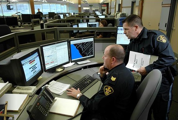 A photo of the OPP utilizing the telecommunication network in North Bay
