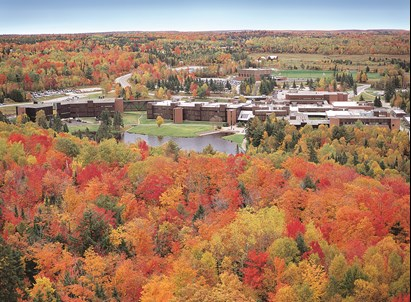 An aerial photo of Nipissing University and Canadore College's Campus on College Drive