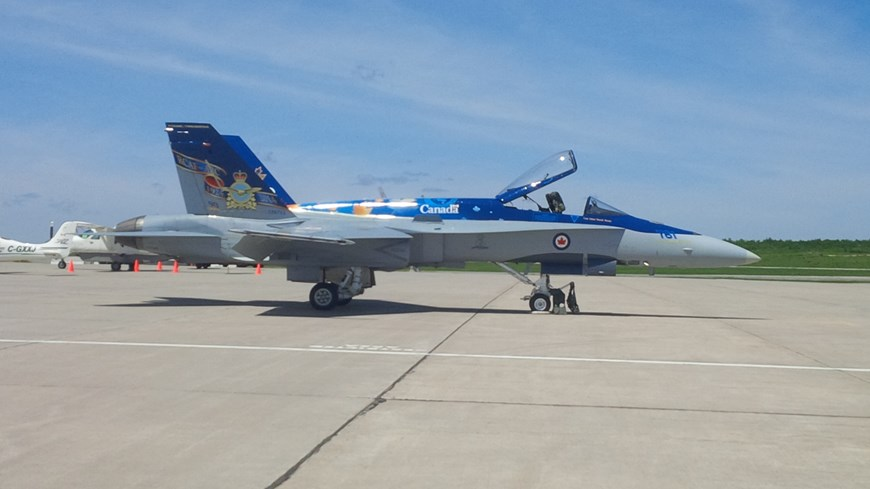 A photo of a CF-18 at the YYB North Bay Jack Garland Airport