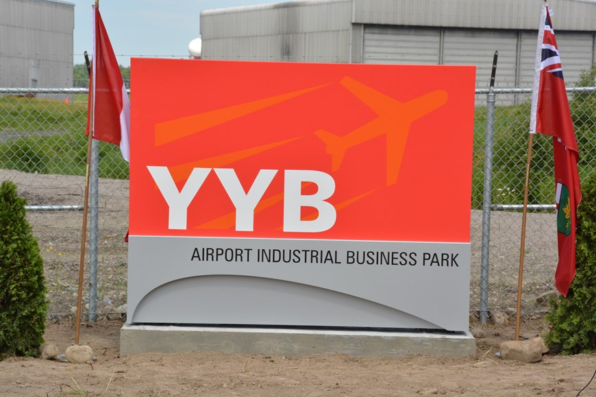 A photo of the YYB Airport Industrial Business Park signage