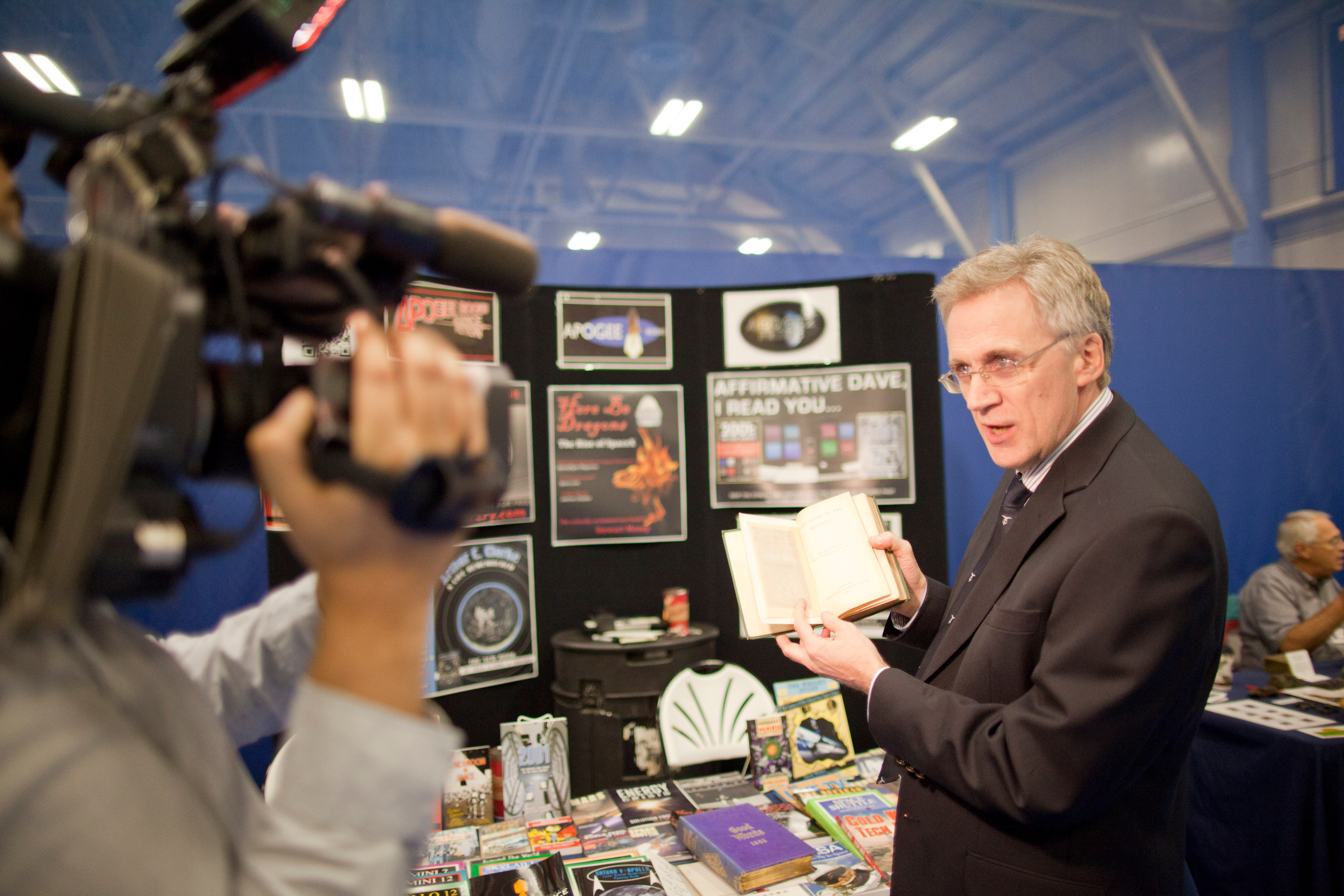 A photo of Robert Godwin being interviewed by media at YYB North Bay World Space Week